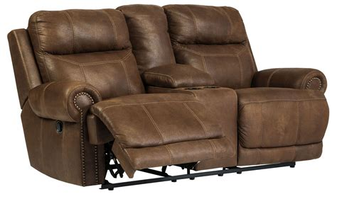 dual recliner loveseat with console austere brown reclining loveseat with console from