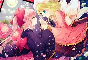 Blondes, Vocaloid, Night, Flowers, Moon, Long, Hair, Kimono, Kagamine, Rin, Pink, Hair, Short, Hair, Yellow