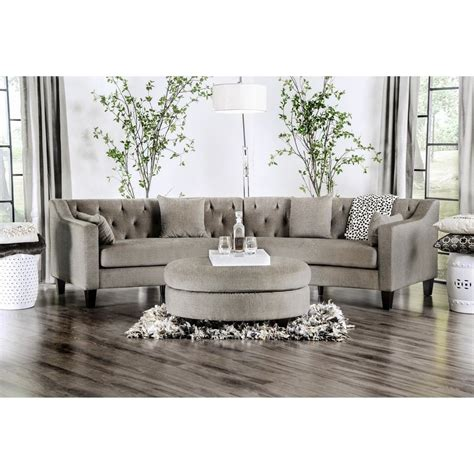 Grey Couches For Sale by Aretha Contemporary Grey Tufted Rounded Sectional Sofa By