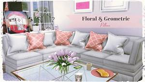 Sims 4 - Floral & Geometric Pillows - Dinha