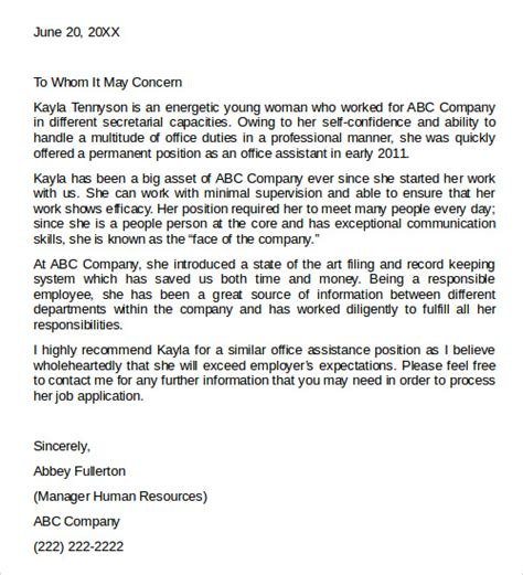 letter of recommendation templates 27 letter of recommendation in word sles sle