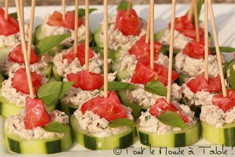 deko cuisine bouchées apéritives concombre rillettes de sardine tomates cerises tout le monde à table