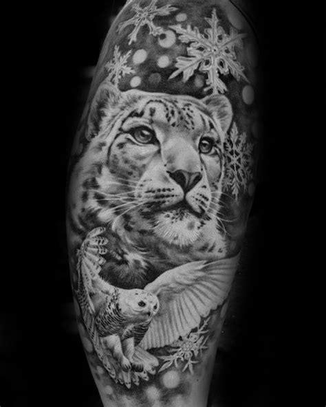 50 Snow Leopard Tattoo Designs For Men - Animal Ink Ideas