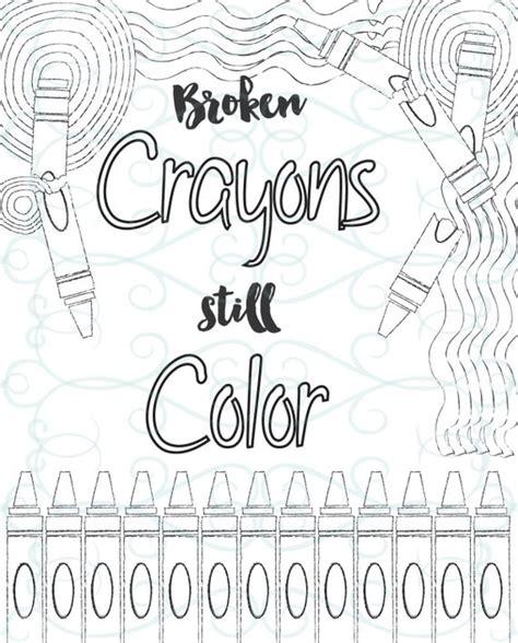 adult inspirational coloring page printable  broken crayons