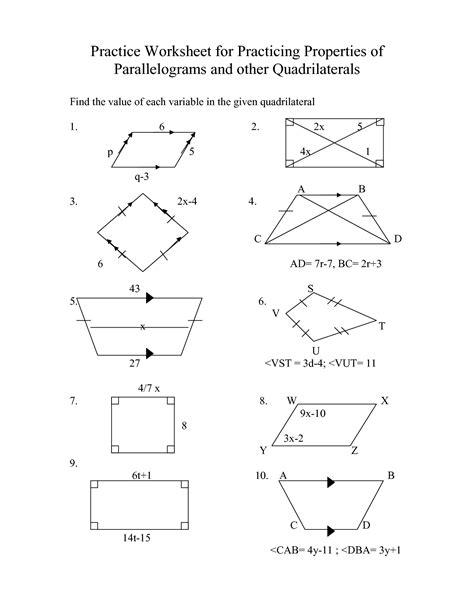 worksheets properties of parallelograms worksheet