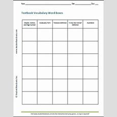 Textbook Vocabulary Word Boxes  Free Printable Ela Worksheet