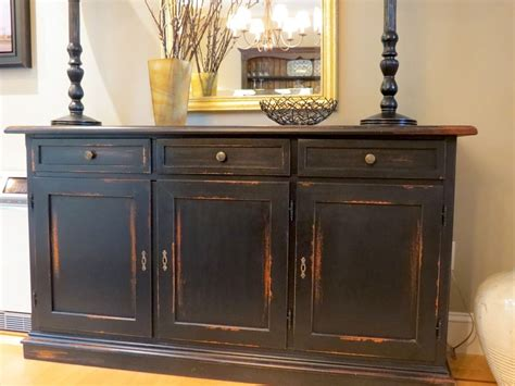 Hand Made Black Barn Wood Buffet With Distressed Multi ...