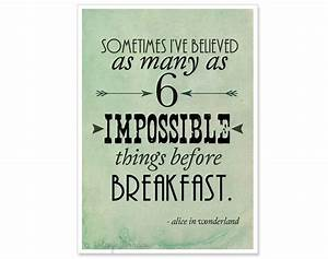 Alice In Wonderland Typography Print 6 Impossible Things