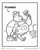 Plumber Coloring Worksheet Preschool Pages Community Activities Worksheets Education Plumbing Helpers Sheets Grade sketch template