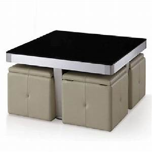 perth black glass top coffee table with 4 mushroom storage With black glass coffee table with storage