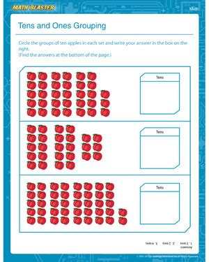 Tens And Ones Grouping  1st Grade Math Worksheets  Math Blaster