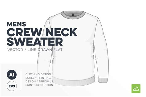 mens crew neck sweater template vector pack