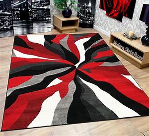 modern soft touch quality floor rug black red white grey With tapis beige et rouge