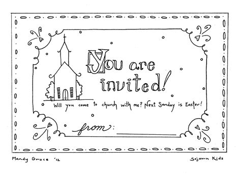 Easter Sunday Invitation Coloring Pages | Sunday school ...