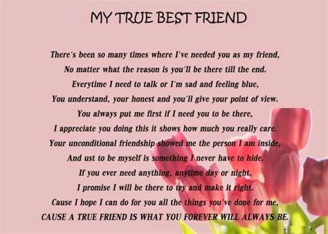 True Best Friend Poems Friendship