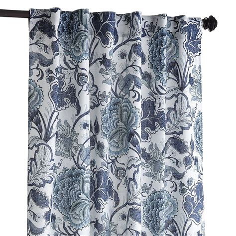 Pier One Curtains Panels blue and white patterned curtains