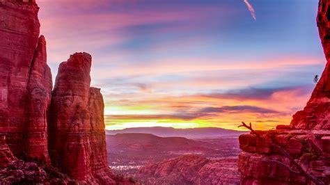 sunset cathedral rock sedona arizona desktop hd wallpaper