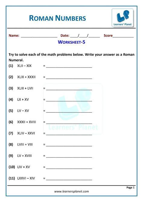 math cbse class   roman numerals practice sheets