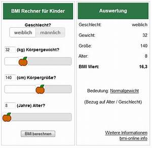 Kinder Bmi Berechnen : bmi rechner auch f r ihre homepage ~ Themetempest.com Abrechnung