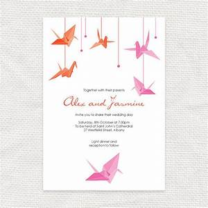 paper crane printable wedding invitation origami bird With japanese paper wedding invitations