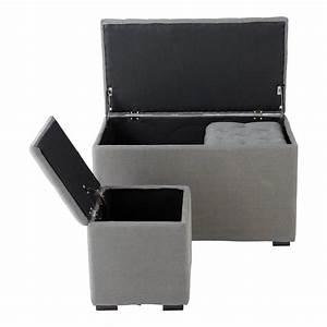 Banc De Rangement Maison Du Monde : banc et 2 poufs coffre en lin gris l 78 cm marceau ~ Premium-room.com Idées de Décoration