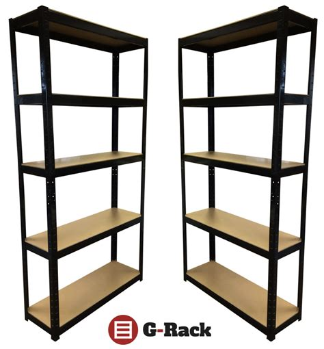 Shelving And Storage Units by 2 Bays Of Steel 180x90x30cm Black Garage Shed Shelving