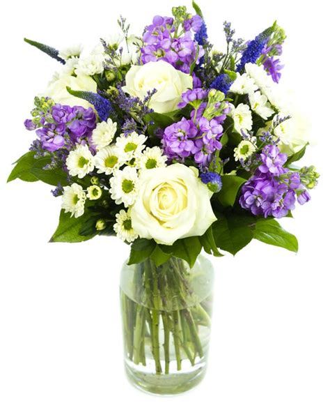 mixed cream  purple bouquet perfect flowers