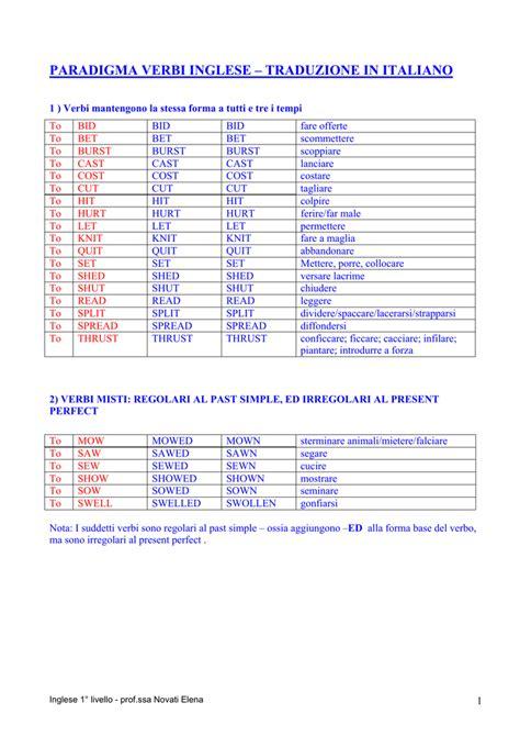 traduzione bid paradigma verbi inglese traduzione in italiano