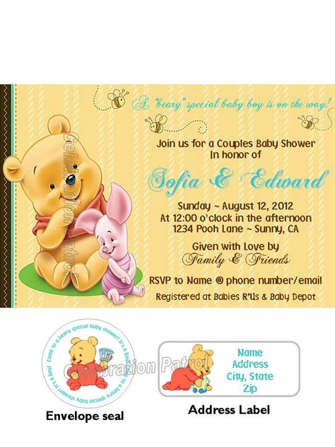 winnie the pooh baby shower invitations winnie the pooh theme custom baby shower by