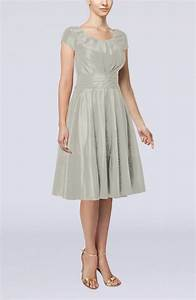 silver simple a line scoop short sleeve taffeta knee With silver dress for wedding guest