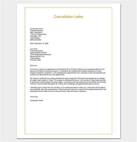 sample cancellation letter format word  letter