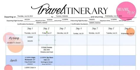 Travel Itinerary Templates by 6 Travel Itinerary Templates Word Excel Templates