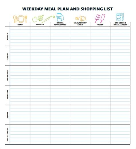 meal planning template   documents