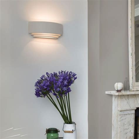 amalfi ceramic wall light in white paintable stepped up