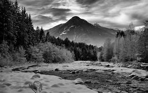 Mountains Landscape River Snow Winter Bw Rocks Stones