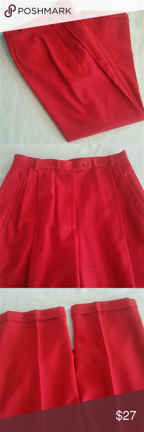 high waisted red lined trousers high waisted red lined