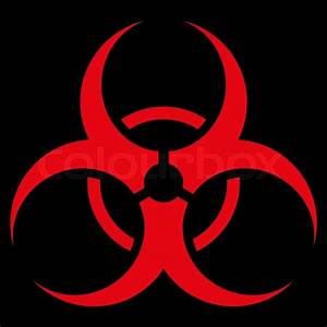 Biohazard Symbol vector icon. Style is flat symbol, red ...