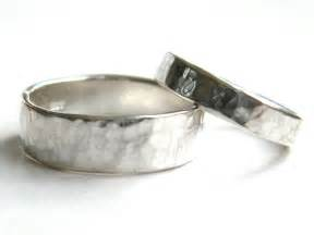 hammered wedding band his and hers hammered silver wedding rings made wedding
