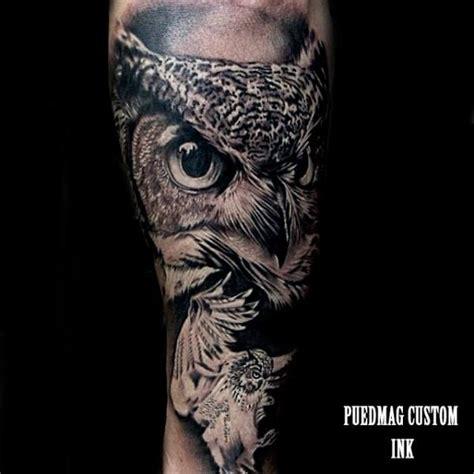 tatuaggio braccio realistici gufo  puedmag custom ink