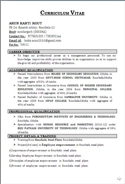 resume format for iti fitter resume format
