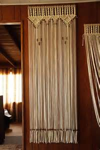 bead fringed door curtain in macrame with handmade wood curtain rod