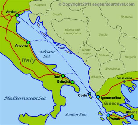 turkish ferries route map italy greece