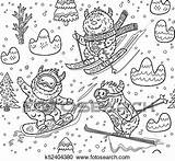 Skiing Yeti Mountain Clipart Vector Seamless Pattern Cartoon Fotosearch Clip Coloring Snowboarding Drawn Ink Fun Hand sketch template