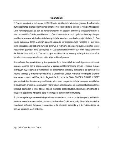 Häuser Kaufen Plön by Plan De Manejo De La Sub Cuenca Chiquito