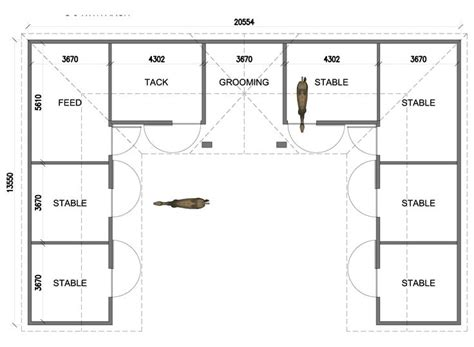 U-shaped 6 Stall Horse Barn. Except I Would Put The Tack