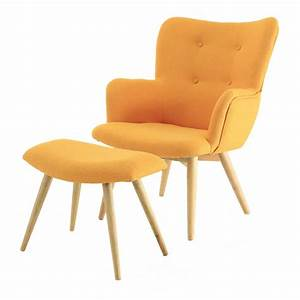 Fauteuil repose pieds en polyester style scandinave jaune for Soldes fauteuils scandinaves