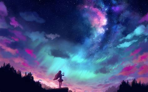 wallpaper  aurora borealis girl sky woman background