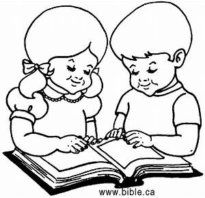 children reading a coloring pages