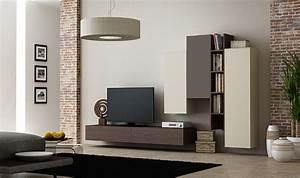 Meuble Tv Suspendu But : ensemble suspendu meuble tv avec rangements muraux en ch ne ~ Teatrodelosmanantiales.com Idées de Décoration