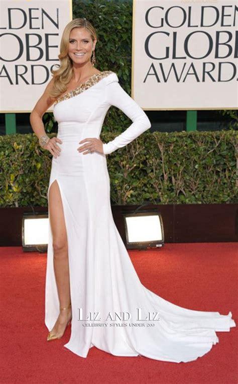 Heidi Klum White One Shoulder Golden Globe Awards Red